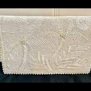 Mary Frances white beaded palm tree large clutch